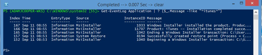 PowerShell: list of iTunes install events